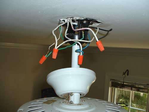 installing a ceiling fan without existing wiring electricians rh talklocal com ceiling fan installation ground wire ceiling fan installation wiring troubleshooting