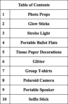 table of contents of top 10 things to buy for prom